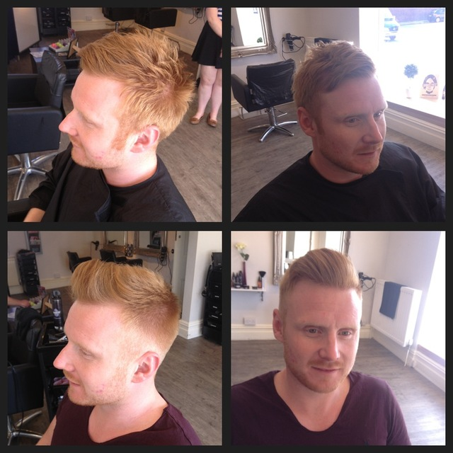 Jordon had the side's and back of his hair cut very short, which forms a strong contrast against the front which was left about 2.5 to 3 inches long, with a slight graduation blending from the top to the bottom of his head. The elements of this haircut ad