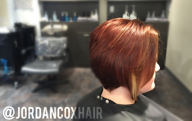 Cut and color by me. Cut is disconnected, layered, and graduated for a free flowing yet solid shape.