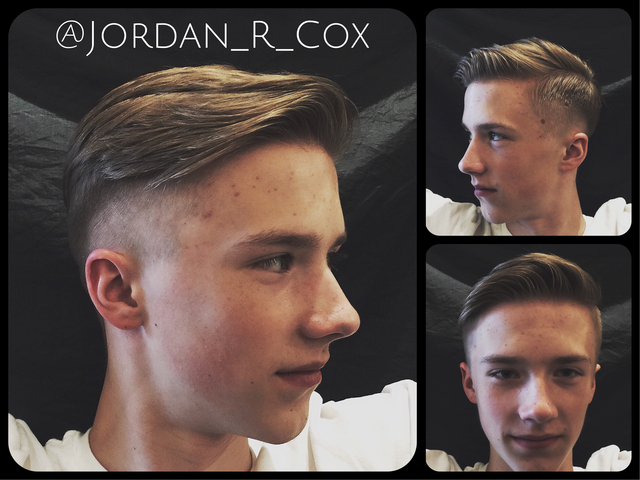 Men's haircut using only one pair of scissors. Scissor over comb to do the fade, scissors to skin to clean up the neckline. And disconnection from the sides in top for movement, and an edgy yet classic look.