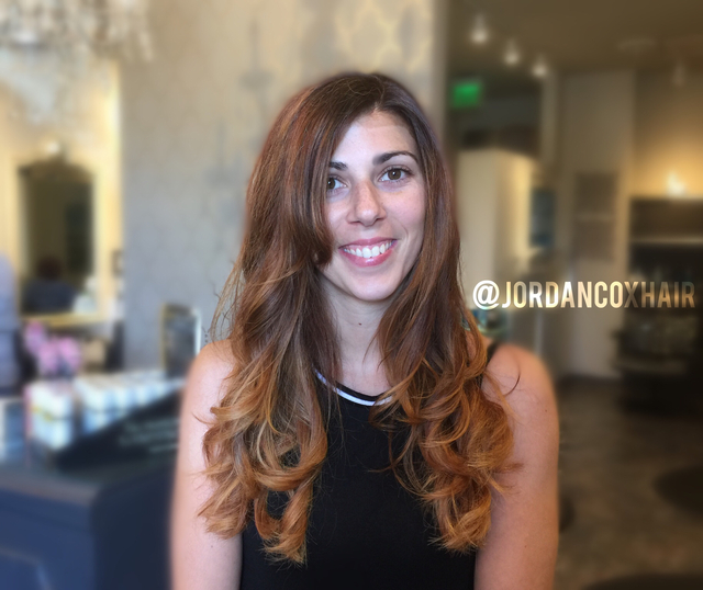 Ombre, balayage color and cut by me.