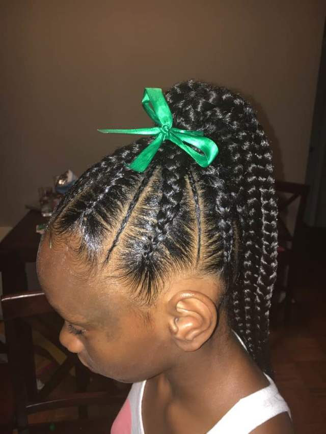 Kids feed in braids ponytail