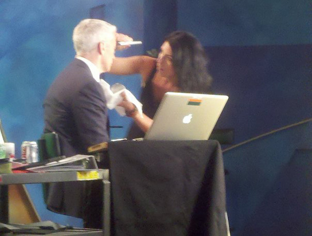 On set with Anderson Cooper