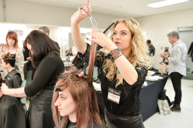 Photo by Alex Barron Hough, backstage prepping for TIGI Inspirational Youth Main Stage Presentation at Premier Orlando