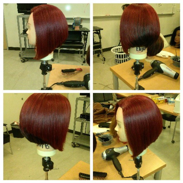 A-line haircut two tone red & darkbrown