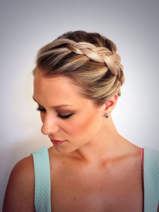 An elegant Dutch braid hair up.
