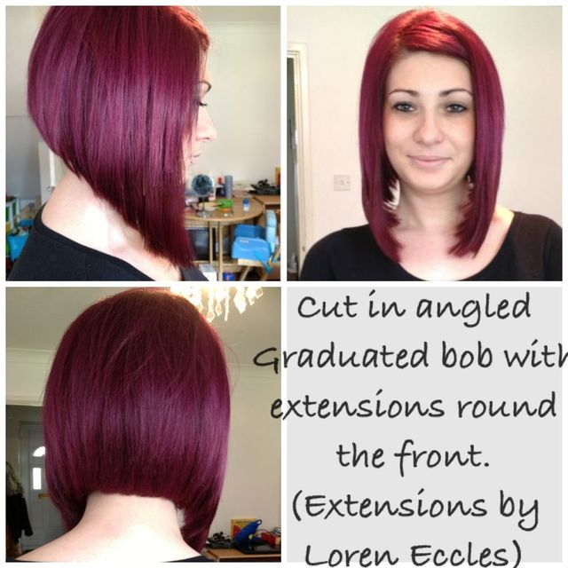 Angled graduated bob with extensions