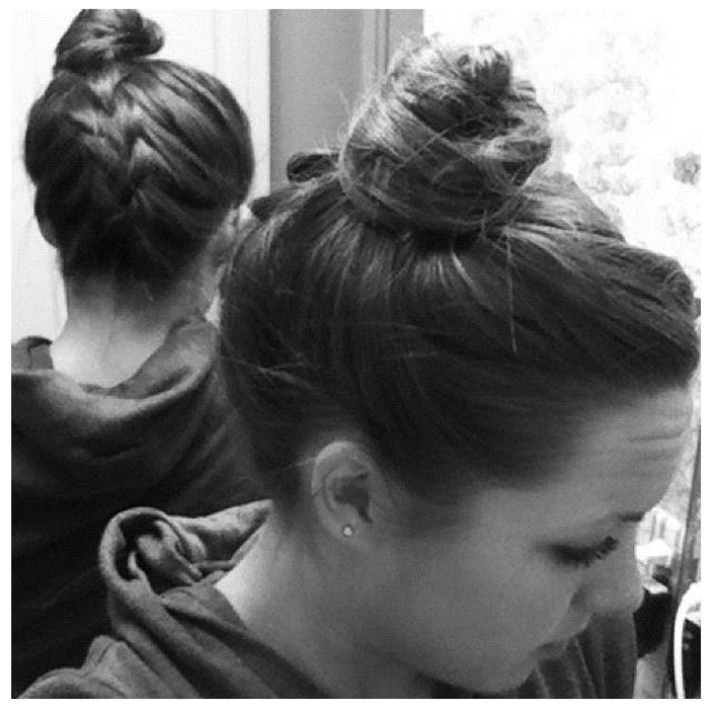 Back braid with high bun
