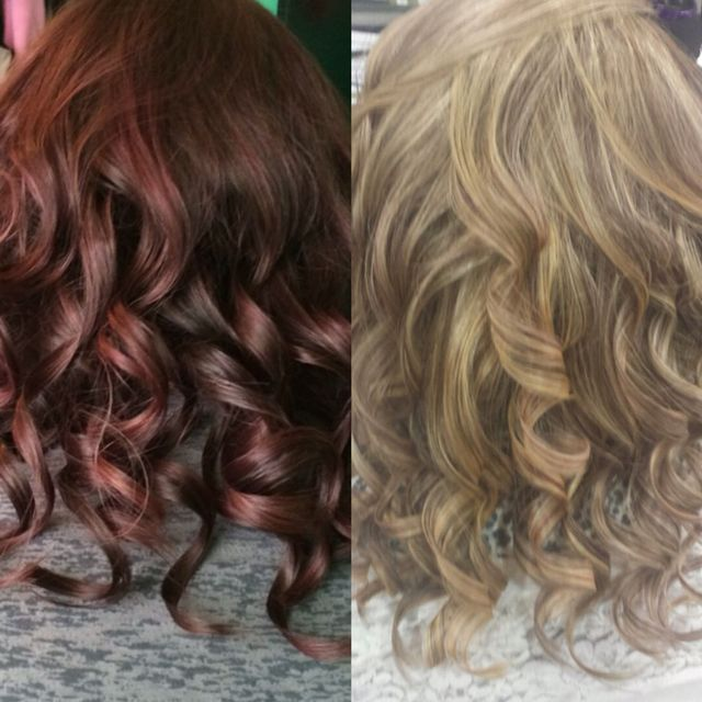 Before(left): Kenra 5VR demi. After(right): Kenra lightener with 20 volume.
