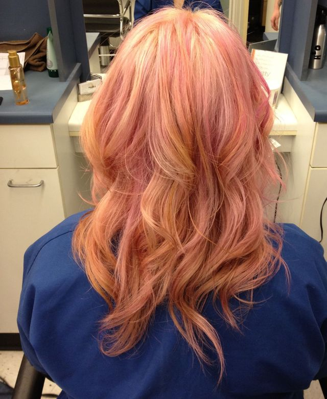 Blonde with pastel pink tone