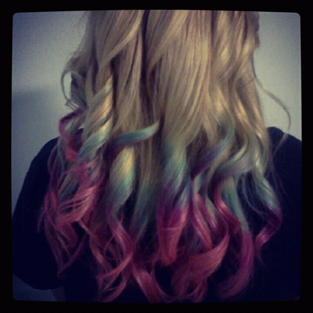 Blue purple pink ombre