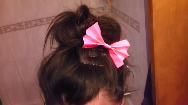 Bun with a homemade bow