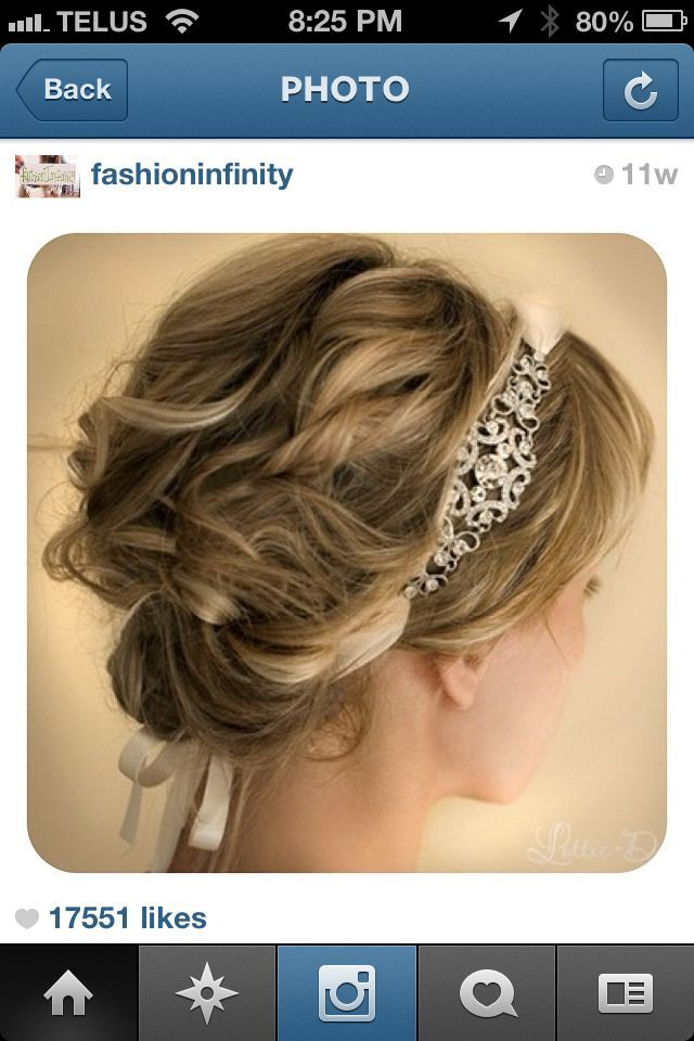 Casual up do with headband