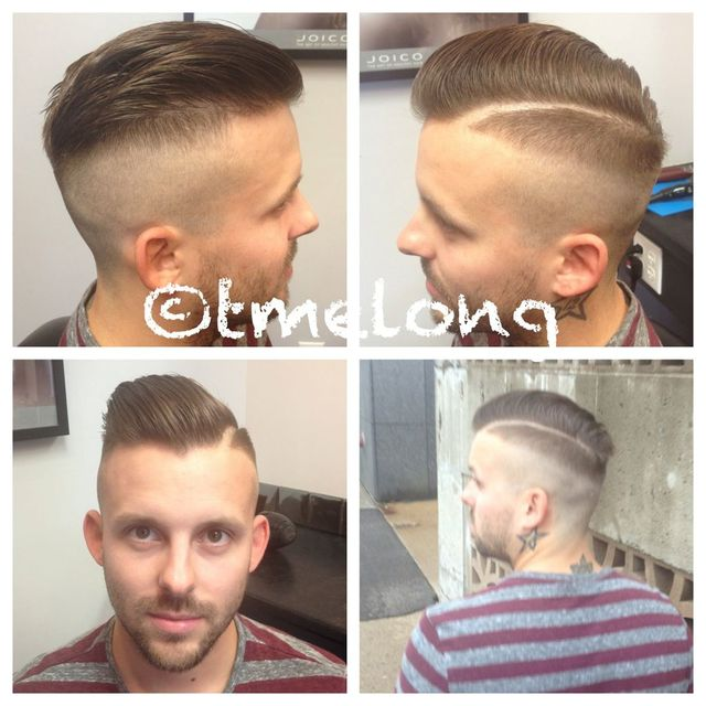 Christopher - faded up with a hard part and texturized pomp.