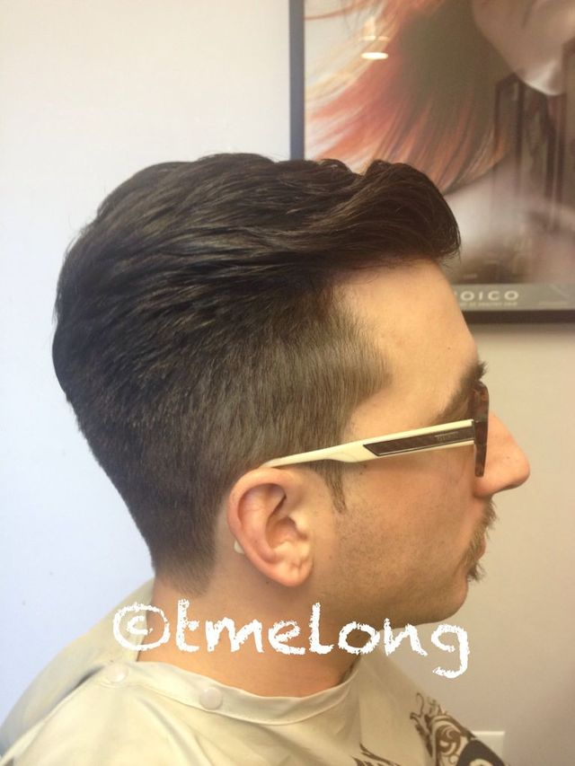 Classic high and tight with a fancy wave.