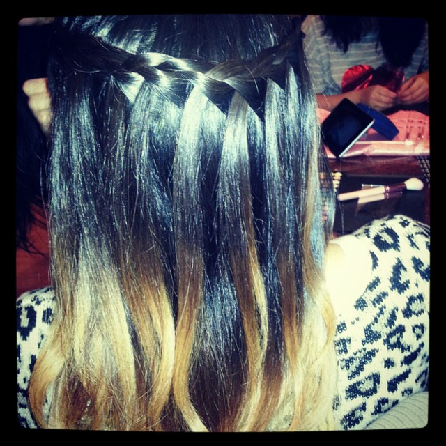 Dip-Dye Waterfall Braid