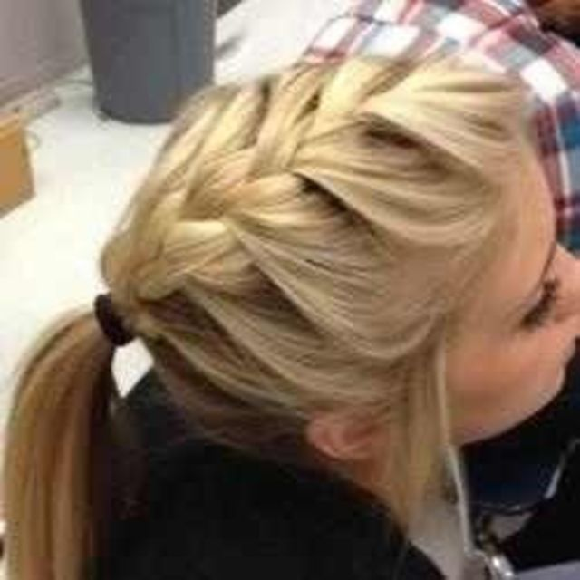 French braid into a ponytail