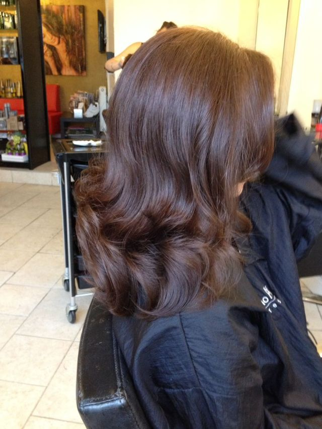 Glossy Brunette Coloured with Keune Tinta