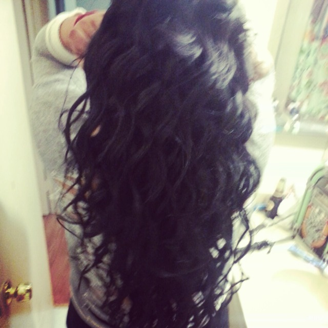 Long Black Curly Hair