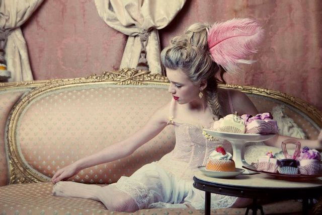Marie Antoinette inspired shoot. hair and makeup by me. photo Sarvey Tahmasebi