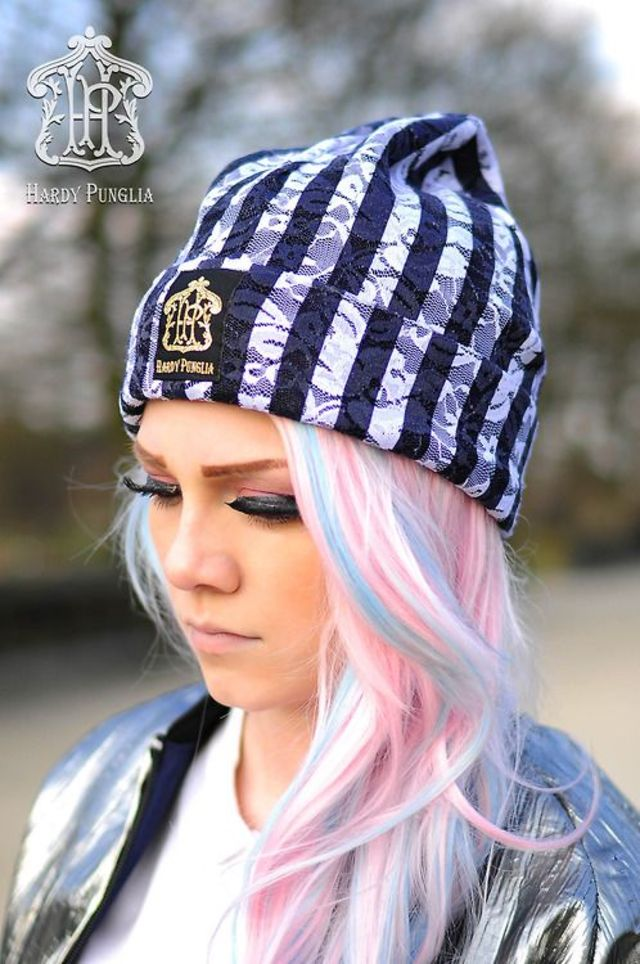 Pink hair with blue highlights