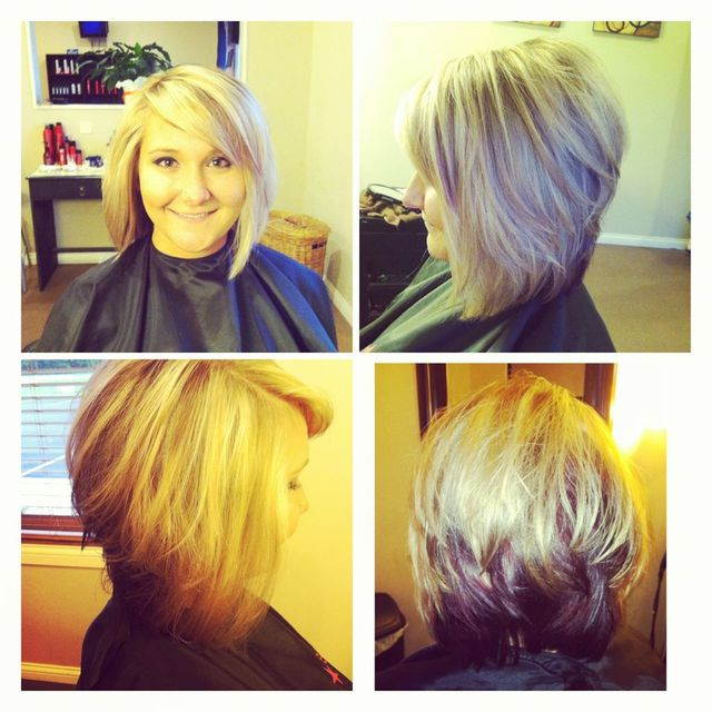 Purple/Blonde Graduated Bob