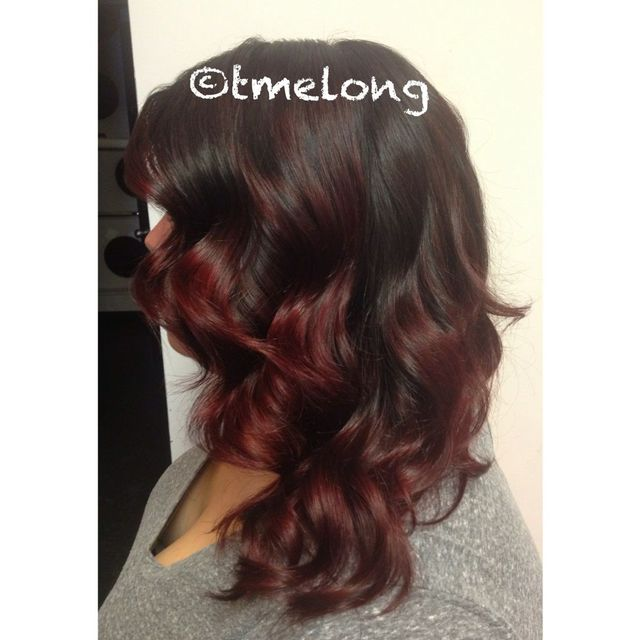 Red ombré. Mahogany base transitioning into cherry red.