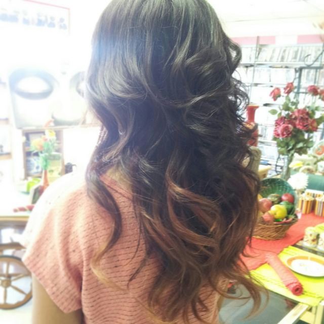 Red-Brown-Blonde Ombre
