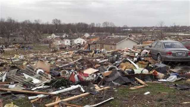 Tornado damage in Harrisburg, IL