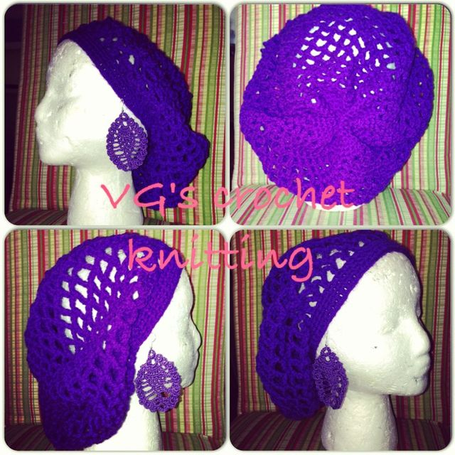 VG's purple crochet hat & earrings