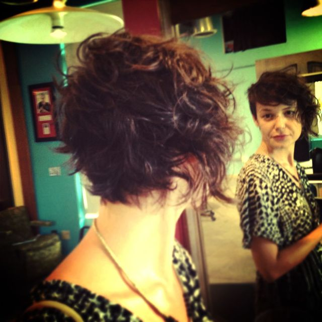 a line curly cut