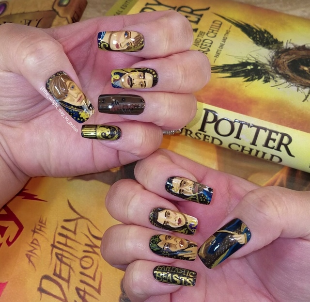 Fantastic Beasts And Where To Find Them Hand Painted Nail Art