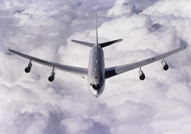 E-8C Joint Surveillance Target Attack Radar System on Refueling Mission