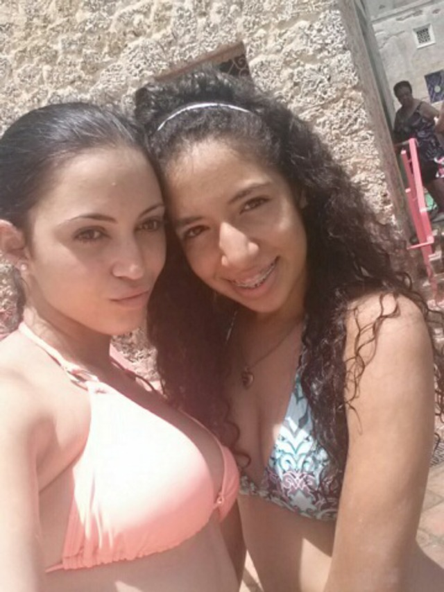 am on the right :) my curly hair at the pool