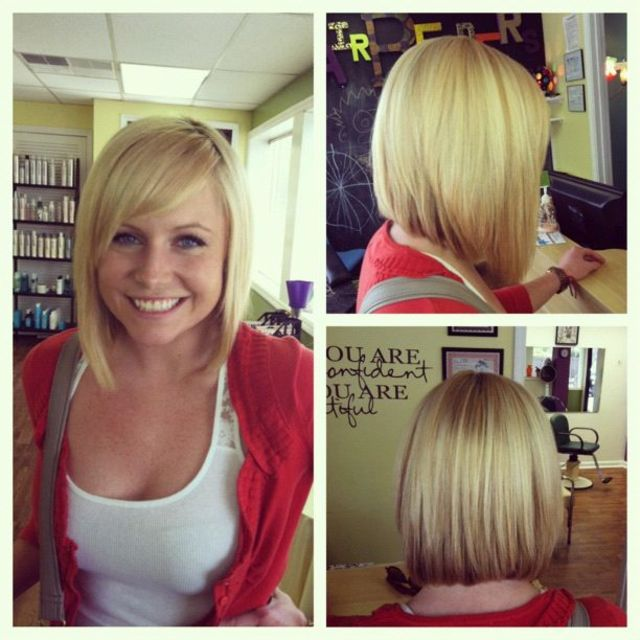 asymmetrical haircut blonde