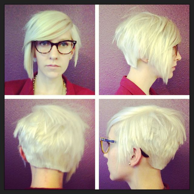 asymmetrical pixie cut blonde