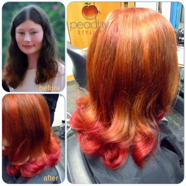 auburn, copper and red colour by Peachy Stylist