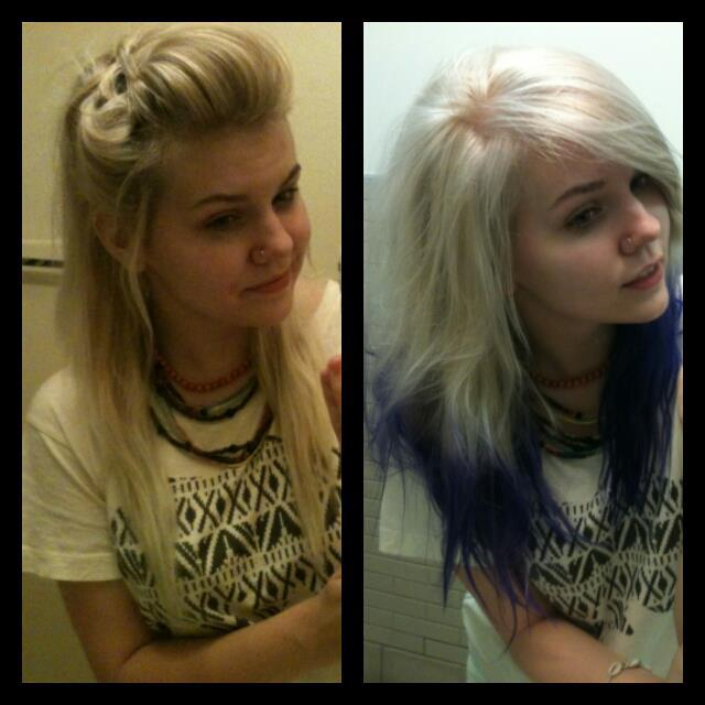 Platinum Blonde to Purple Tips