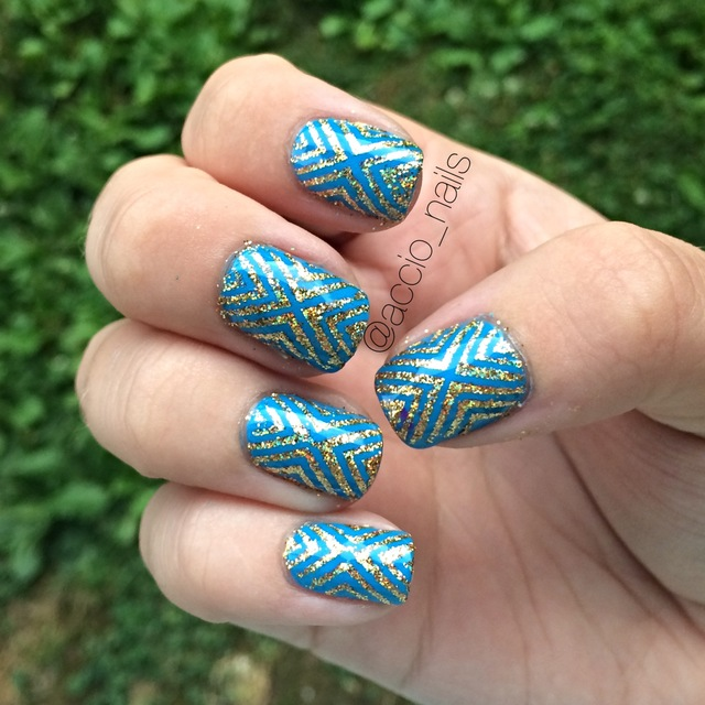 Blue & gold x nails