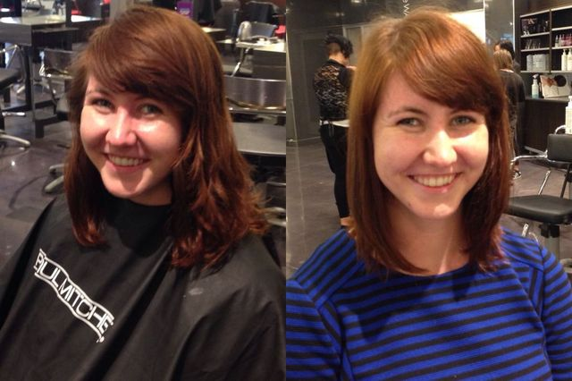 before and after hair trim and shaping