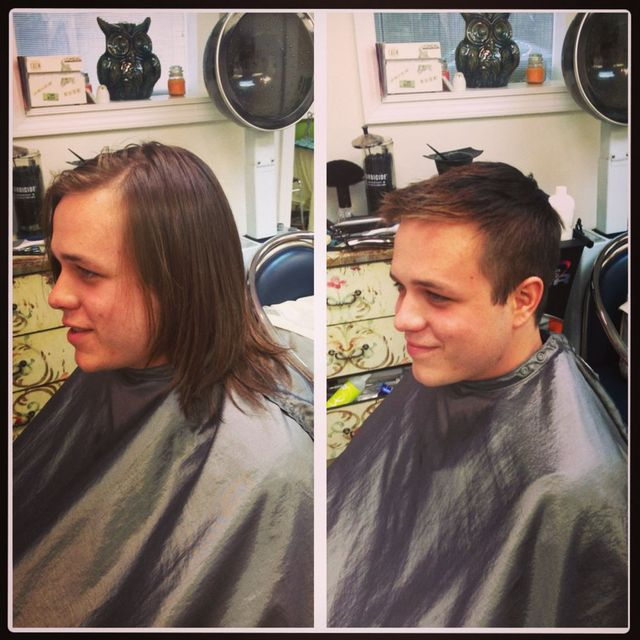 before and after men's haircut