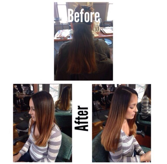 before and after ombré on Lindsay