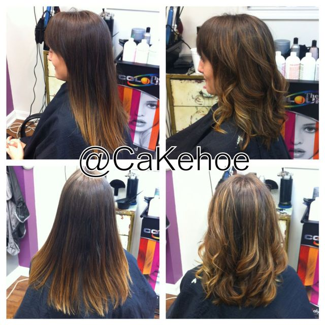 before and after, shorter and lighter! ombré