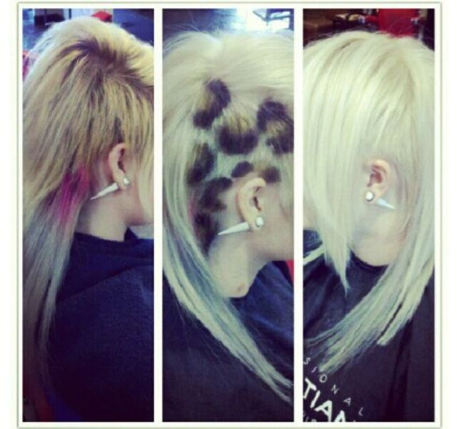 before(first photo) and after(second and third photo) platinum blonde with cheetah spots