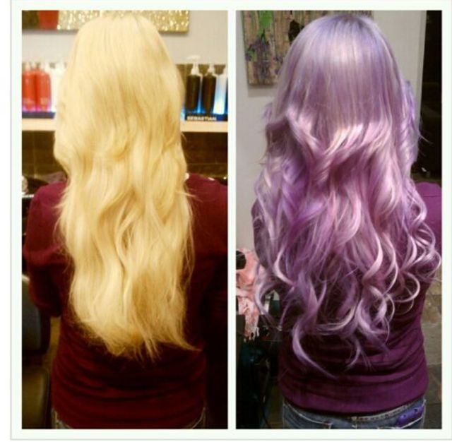 before(left) and after(right) pastel purple