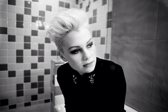 black and white photo of musical artist Phoebe Bridgers hair and makeup by me