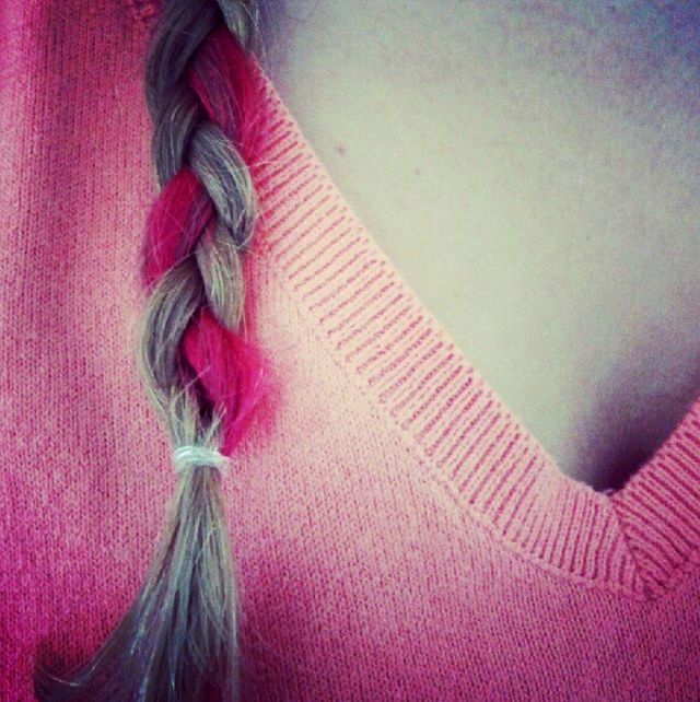 blonde and fuxia braid