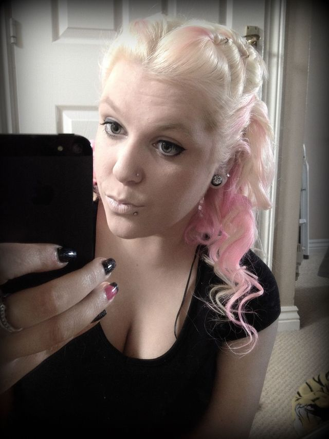 blonde pink curly