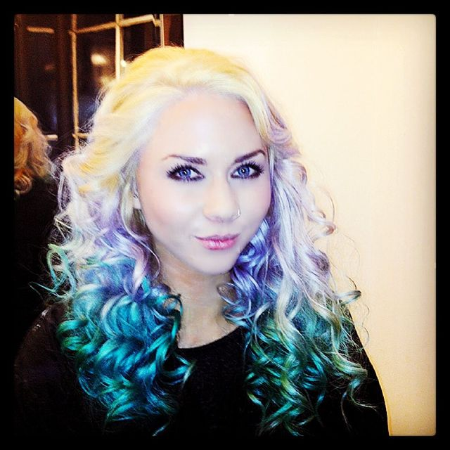 blonde, silver, tropical green, stargazer, keune, curls