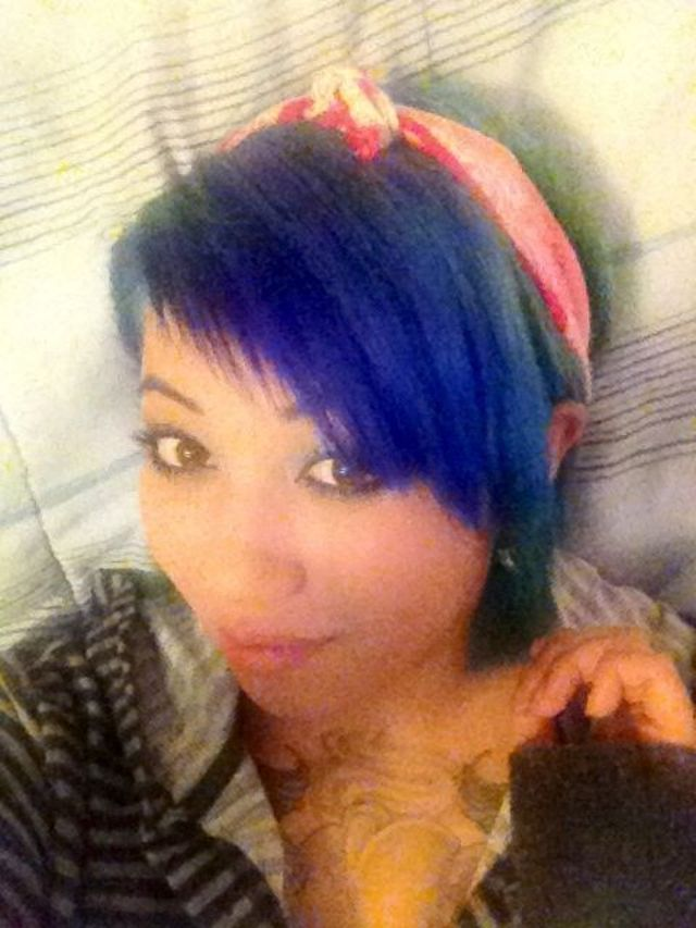 blue hair & princess bandana