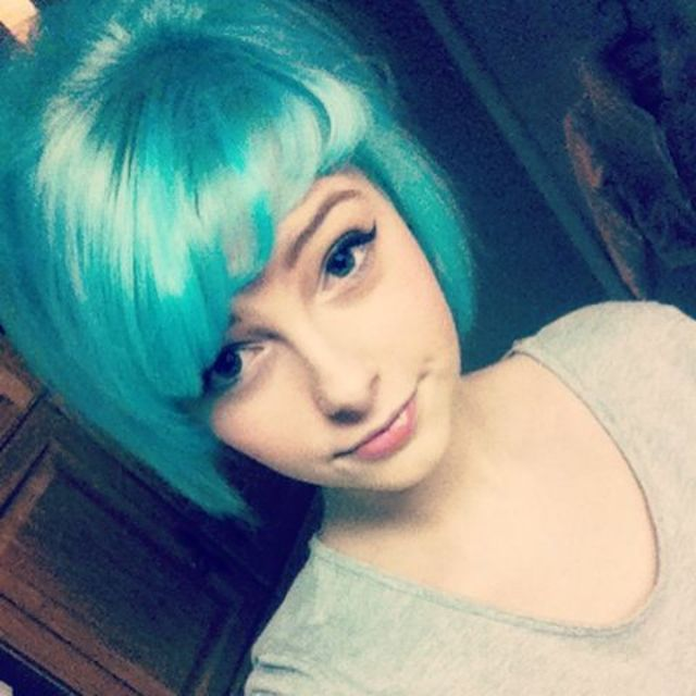 blue hair, 50's updo